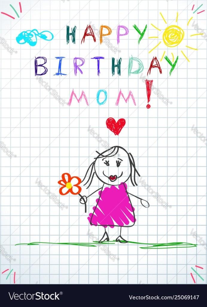 happy birthday mom greeting card badrawing