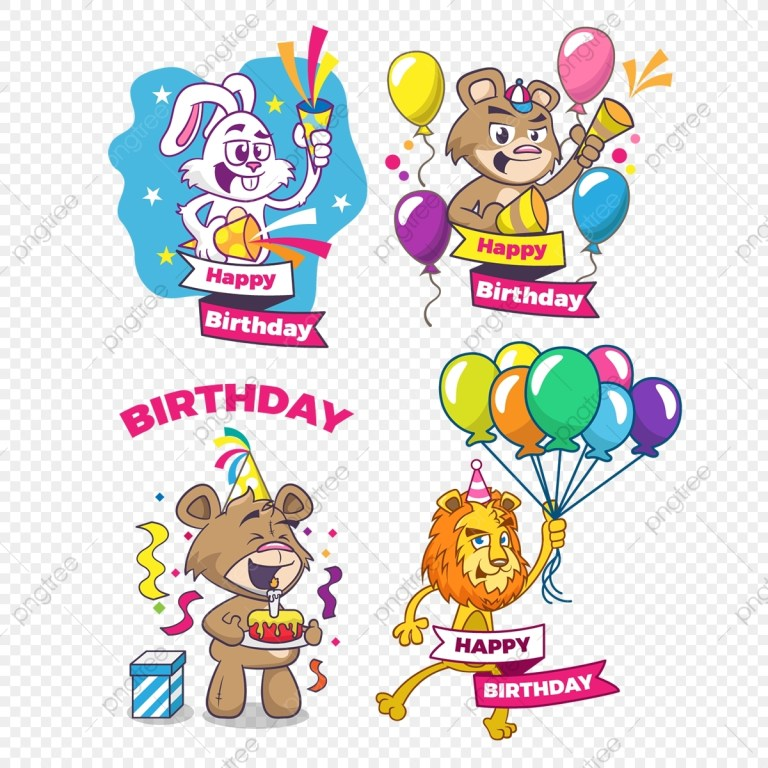 happy birthday set of greeting cards with cute animals