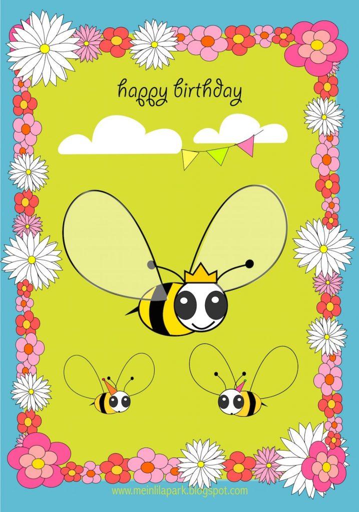 meinlilapark free printable happy birthday card for kids