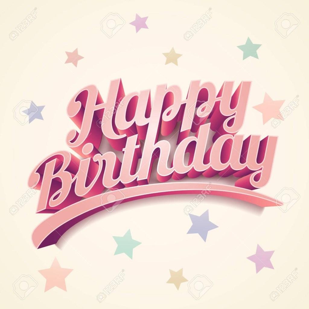 retro 3d happy birthday birthday card design