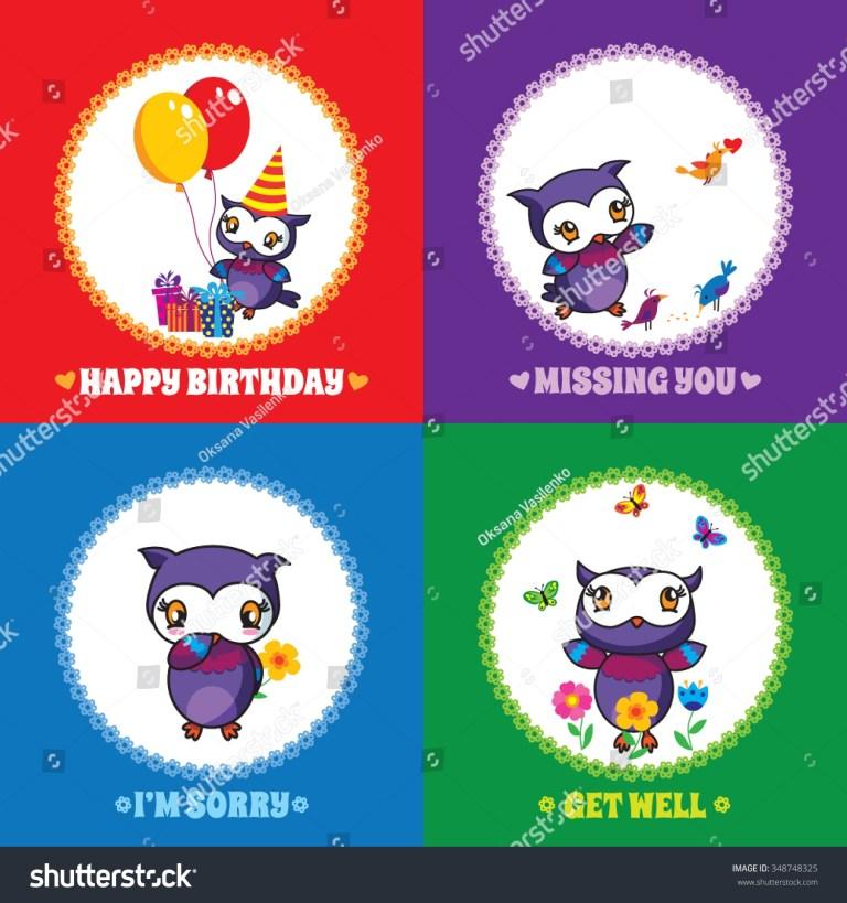 set 1 colourful greeting cards cute stock vektorgrafik
