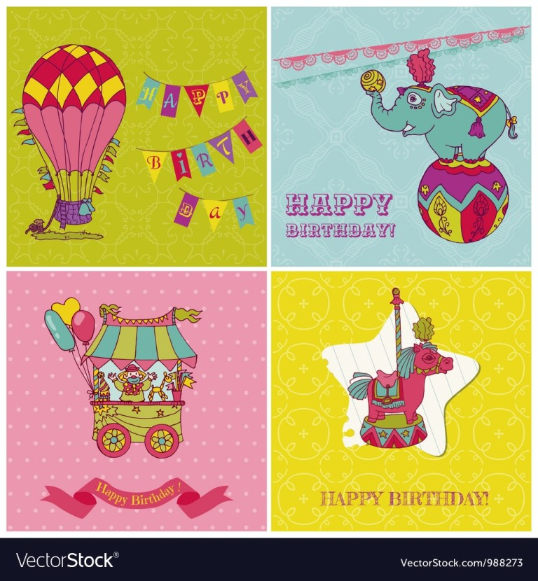 set of birthday greeting cards for kids