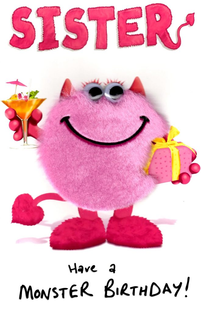 sister pink monster happy birthday greeting card