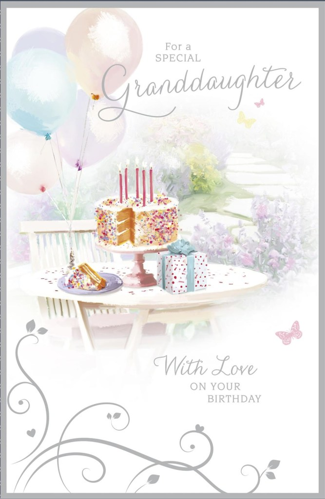 thinking of you cake and present granddaughter birthday card