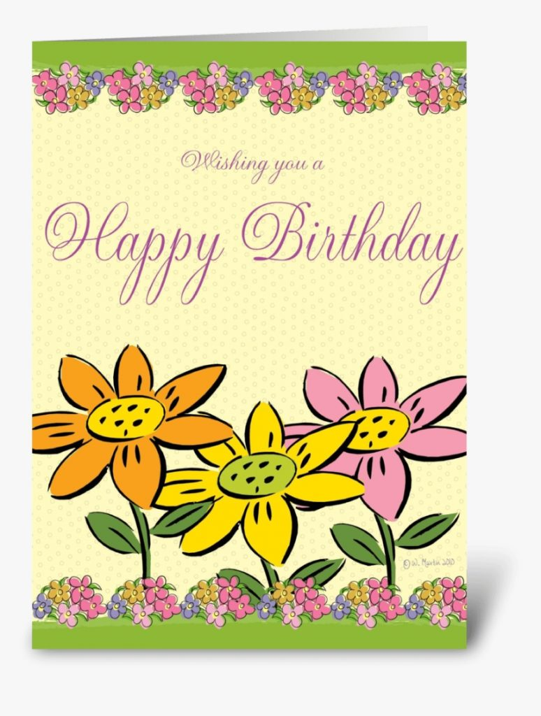 three flowers birthday card greeting card greeting card