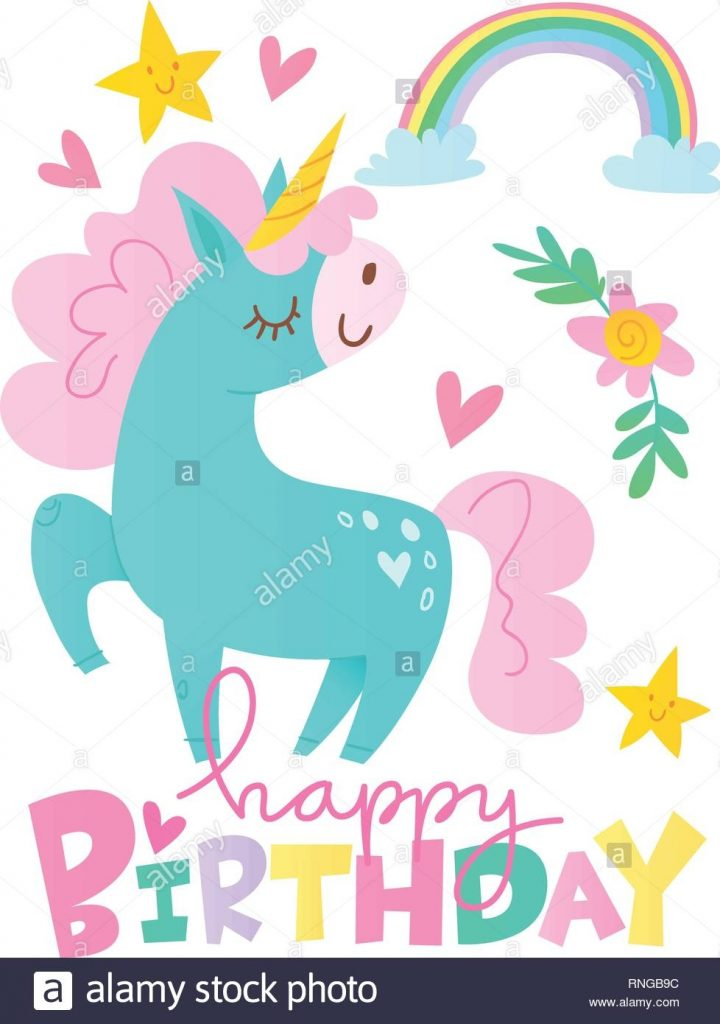 vektor happy birthday cards mit cartoon einhorn charakter
