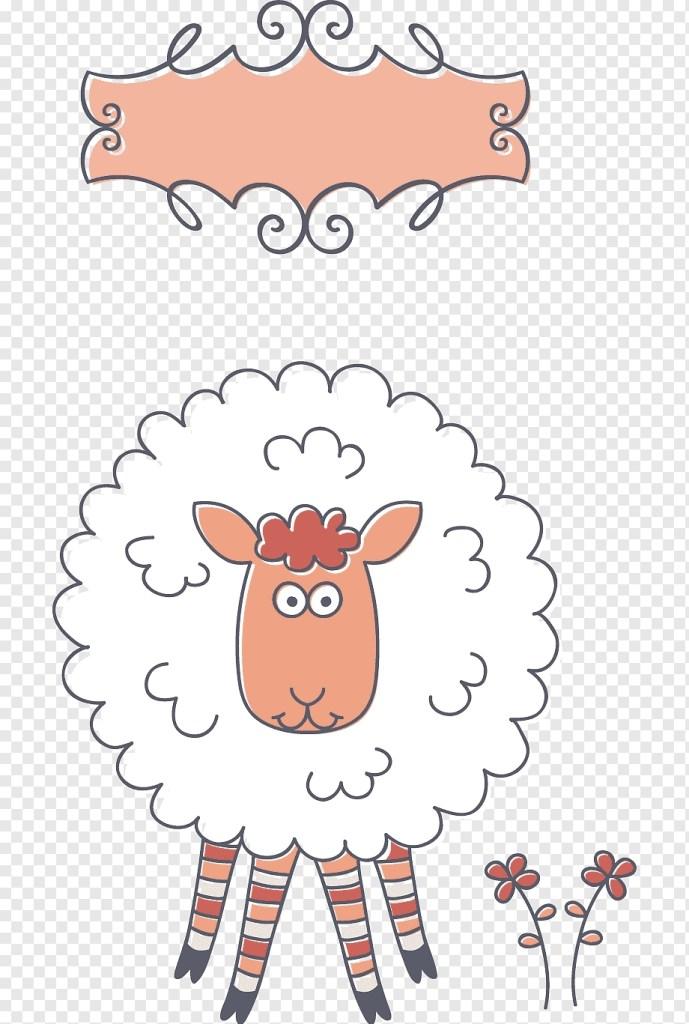 white sheep illustration sheep birthday greeting card e