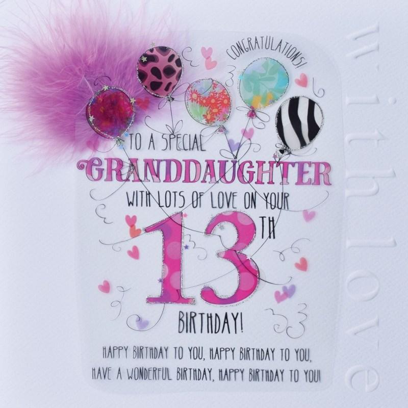 wjb cloud 9 granddaughter 13th birthday card