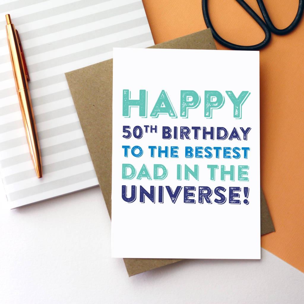 happy birthday personalised best dad universe card