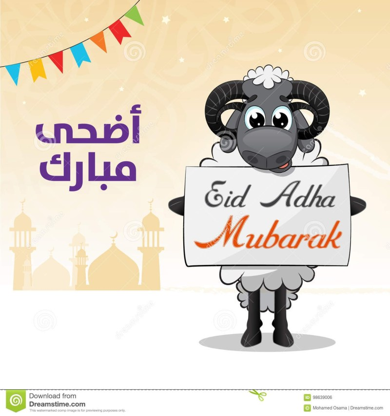 eid al adha sheep with banner