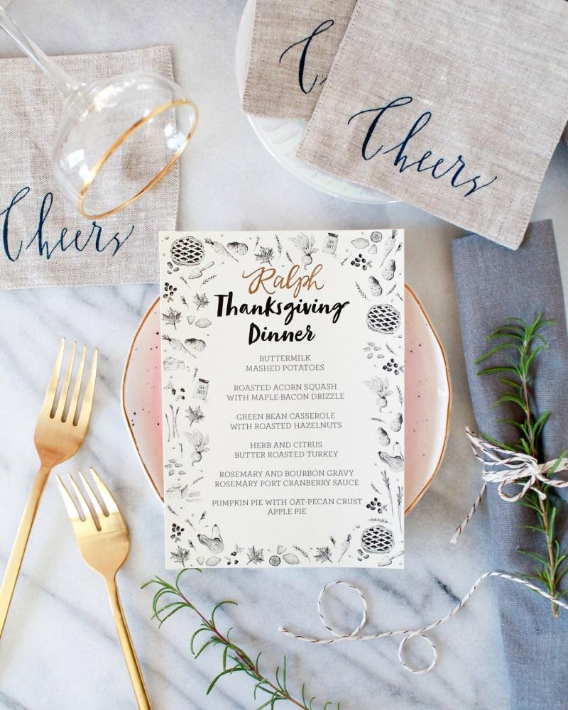 illustrated printable thanksgiving dinner menu