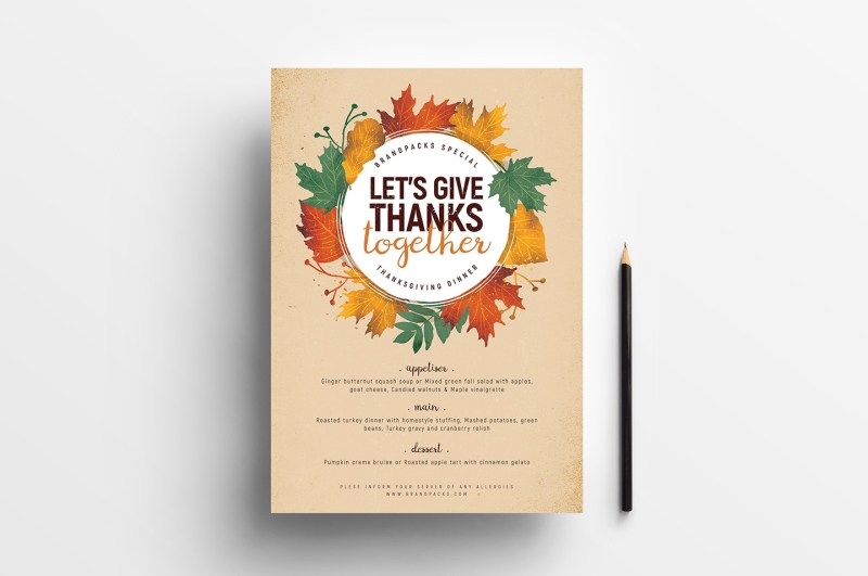 thanksgiving menu poster psd vector
