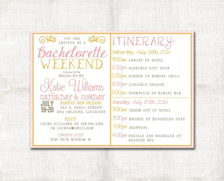 bachelorette party agenda template