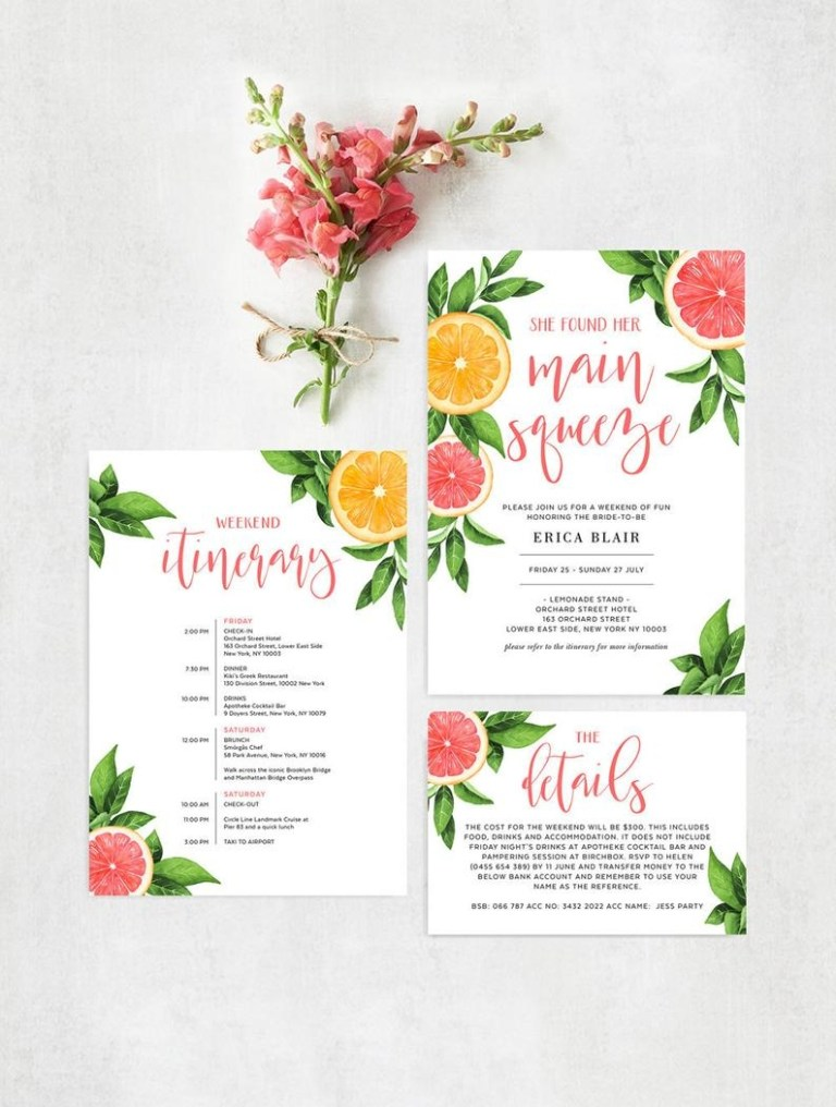free printable main squeeze bachelorette itinerary