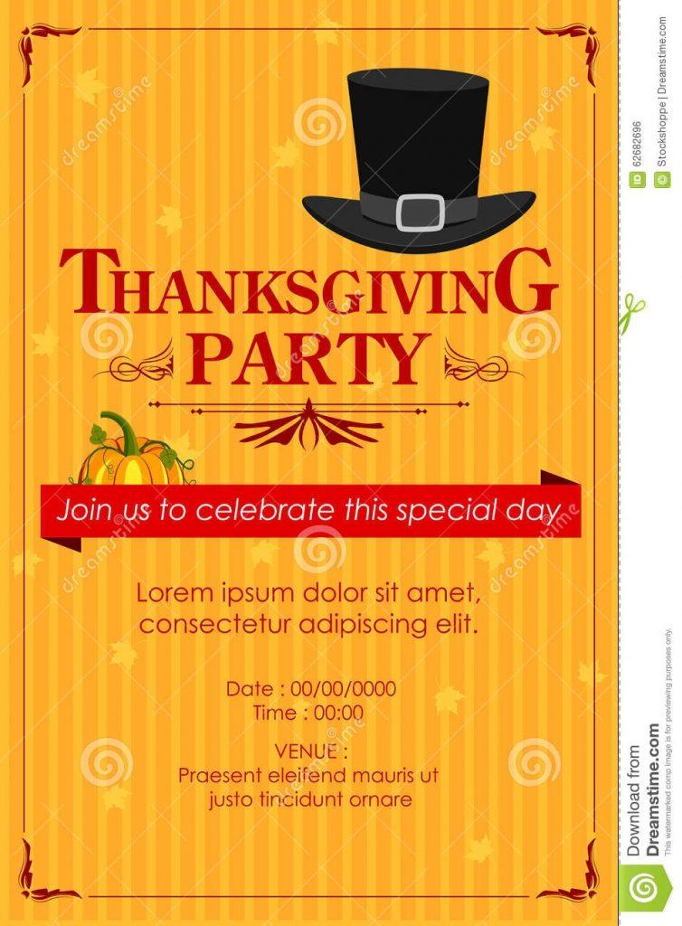 thanksgiving party invitation vector