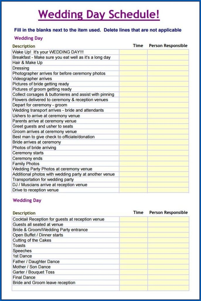 wedding day timeline printable worksheets
