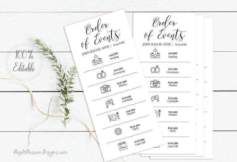 wedding events card schedule