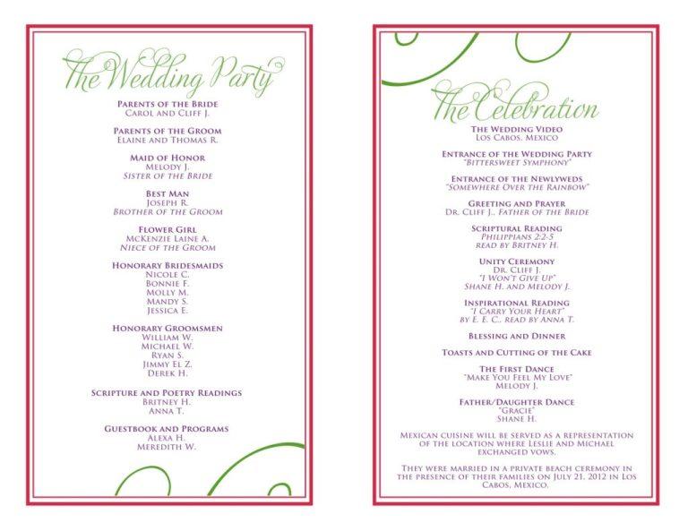 wedding reception template