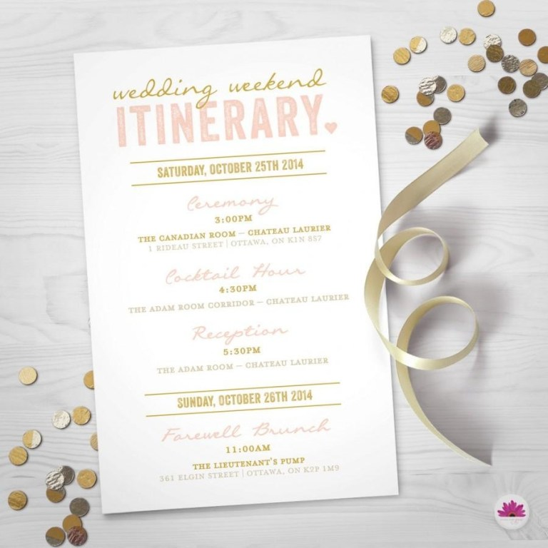 wedding weekend itinerary day timeline