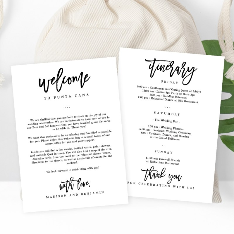 wedding welcome and itinerary card