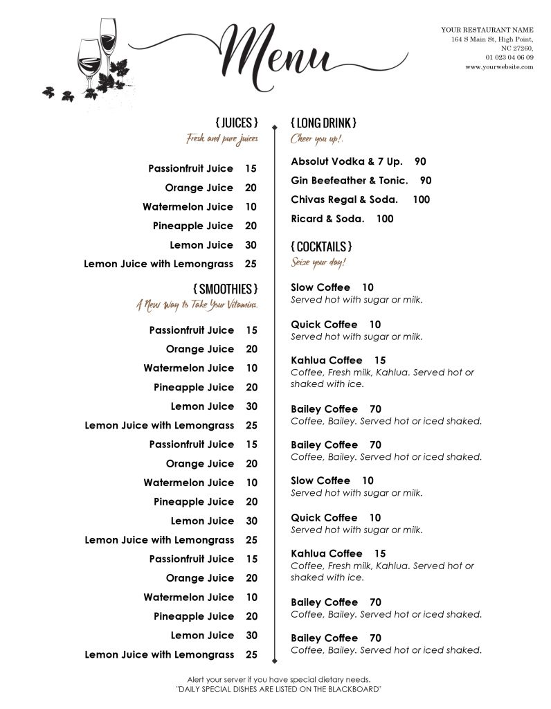 bar drink menu ideas