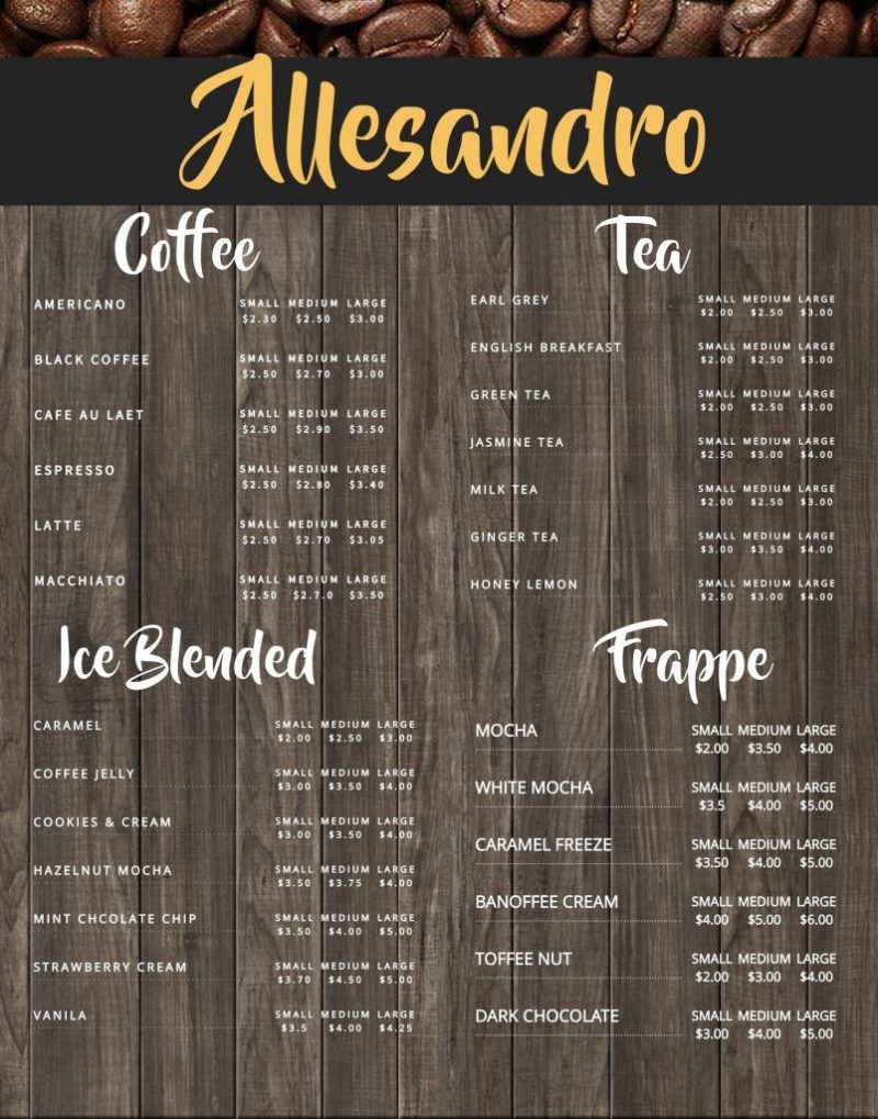 brown coffee shop menu