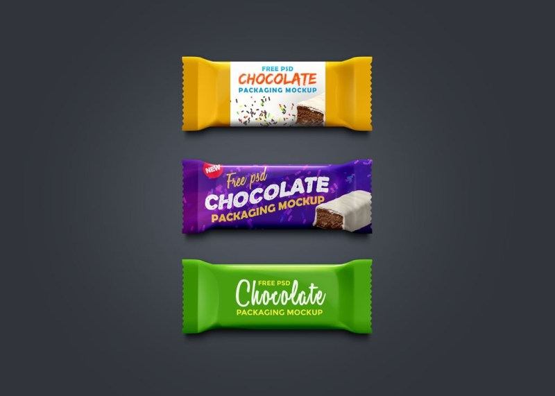chocolate and granola bar packaging mockups