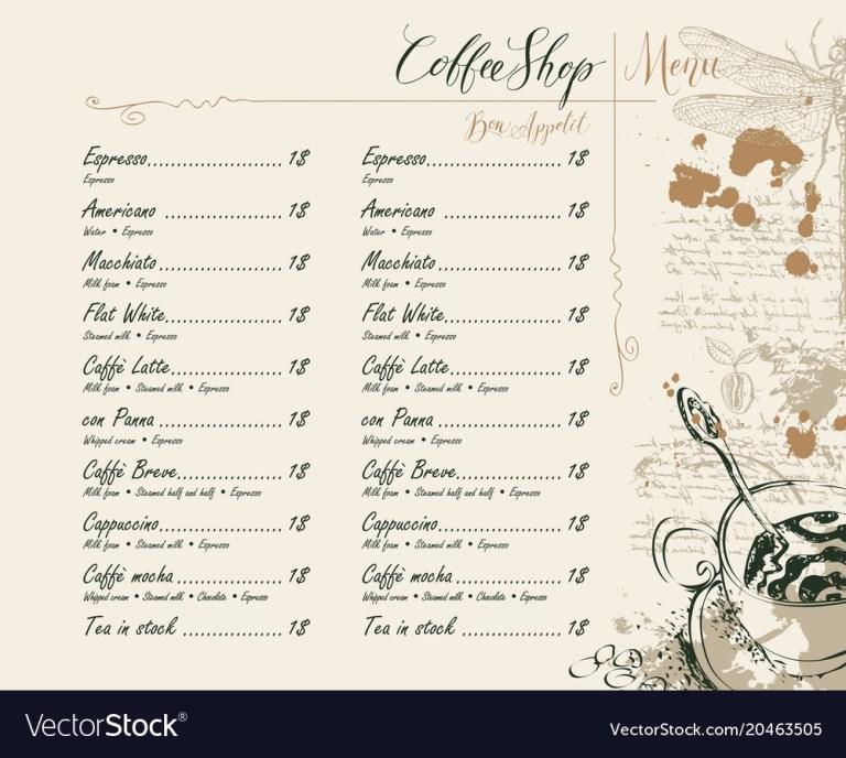 coffee shop menu with price list