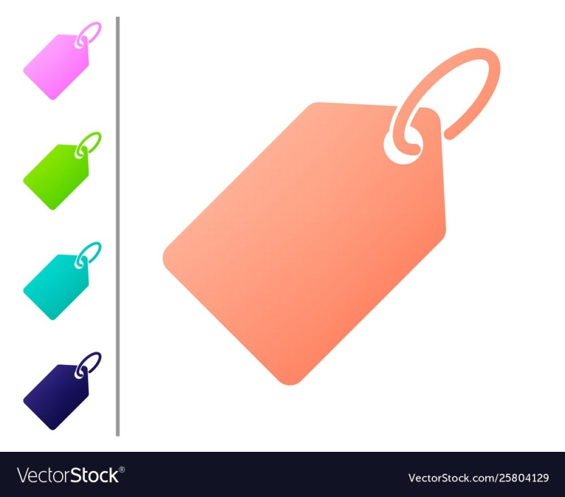 coral blank label template price tag icon