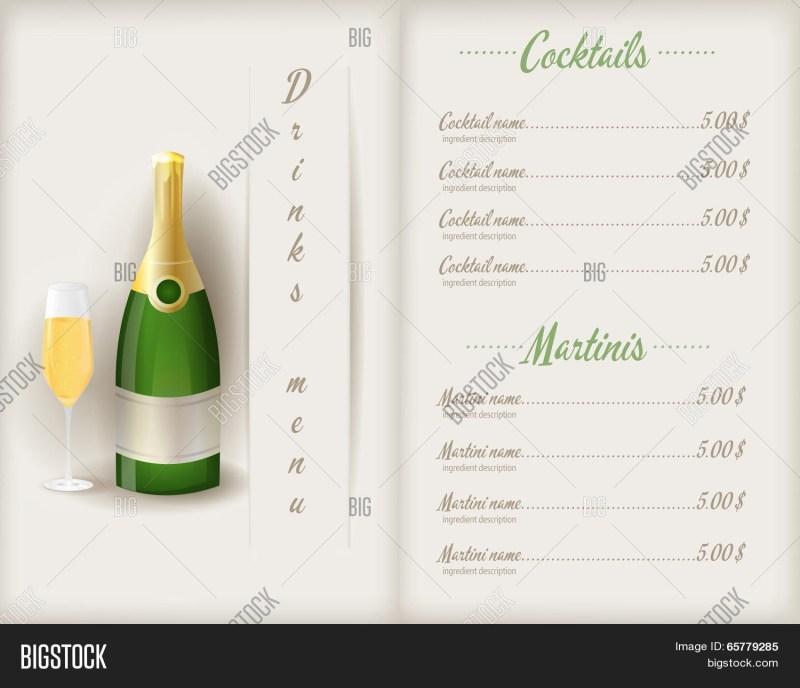 drink menu template vector