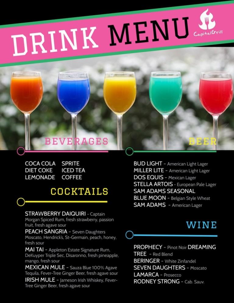 fun drink menu template