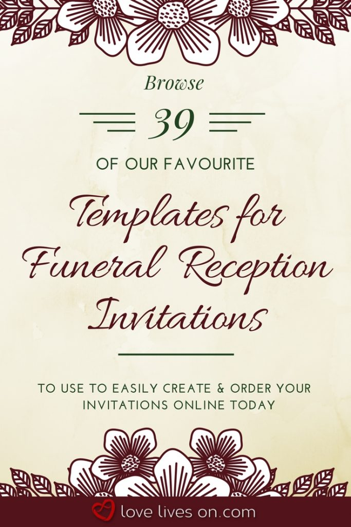 funeral reception invitations example