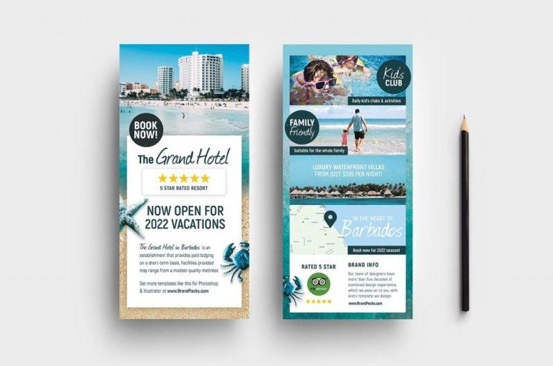 hotel dl rack card template psd vector