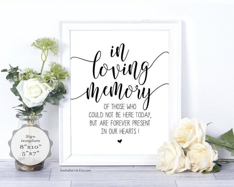 in loving memory sign pdf printable