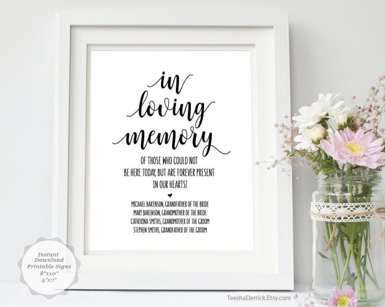 in loving memory sign template