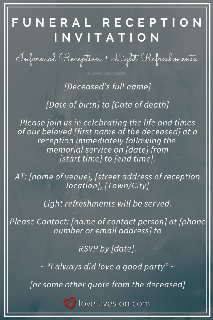 memorial service invitations online
