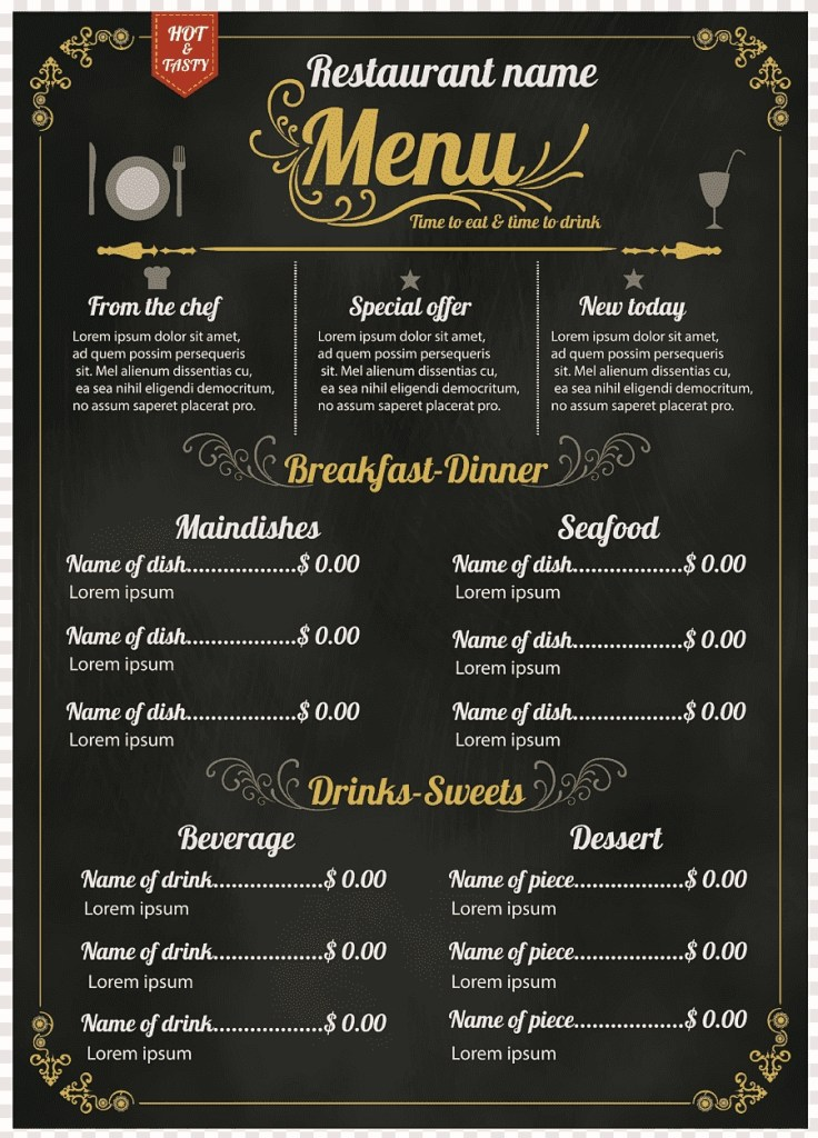 menu templates microsoft word