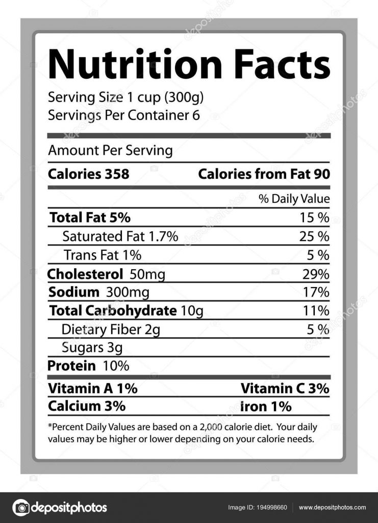 nutrition facts paper and info