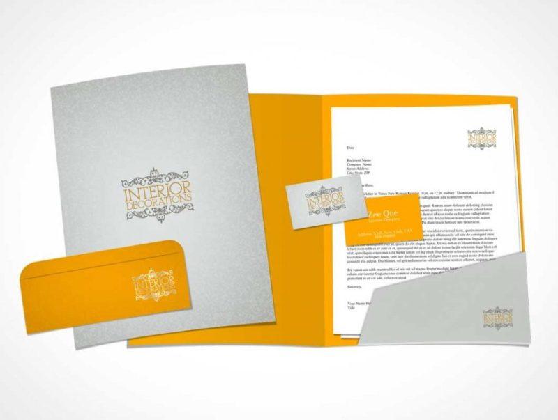 stationery letterhead business card folder
