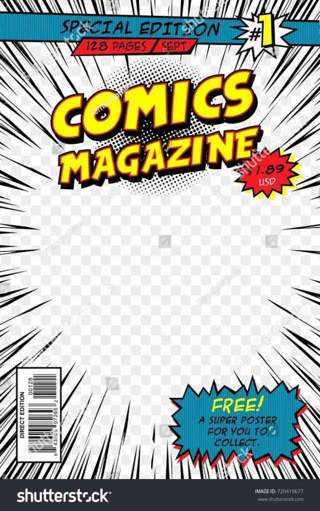 vector comics magazine cover template