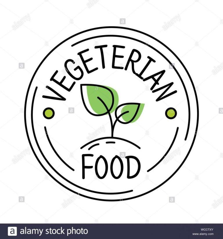 vegetarian food label line style logo