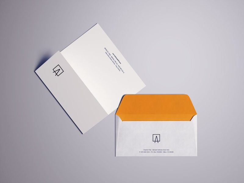 white orange envelope psd mockups