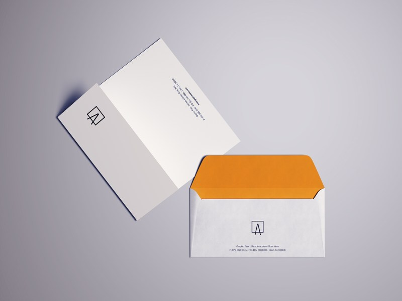 white orange envelope psd mockups
