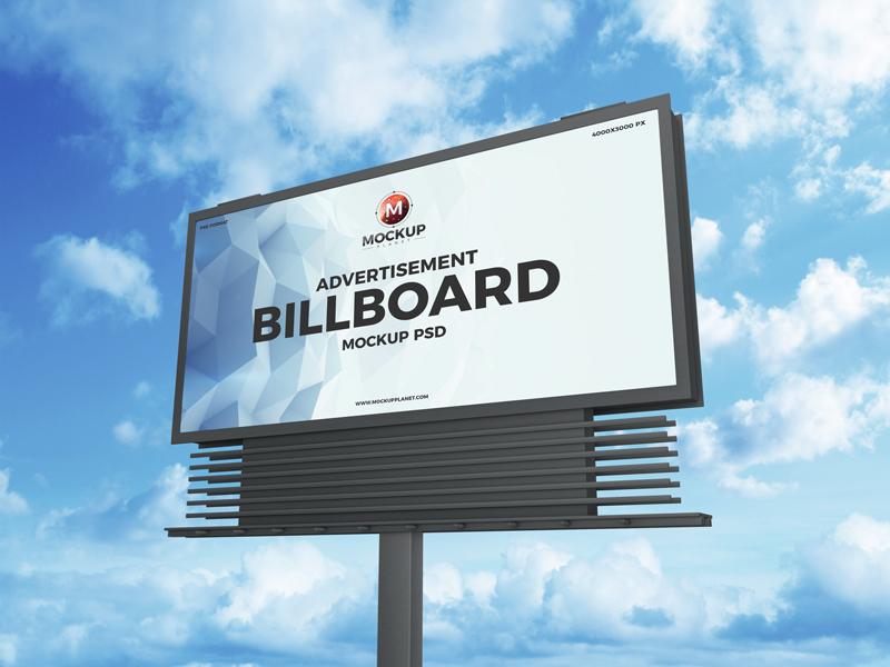 free psd brand advertisement billboard mockup design 2019