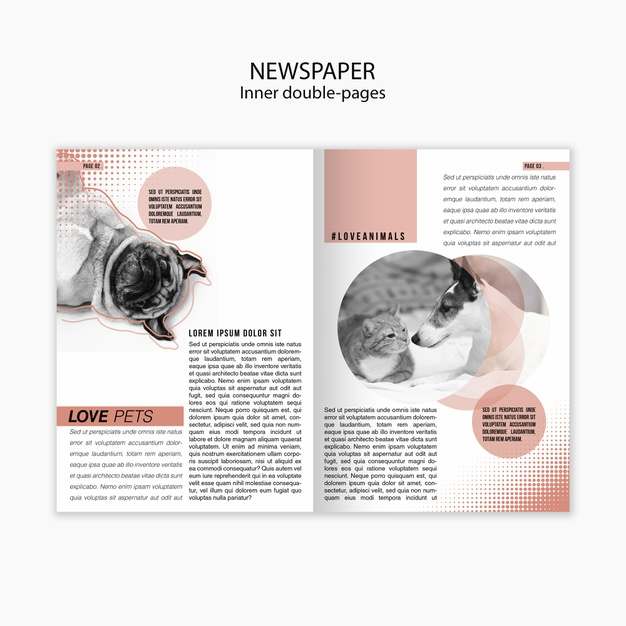 free psd newspaper template about love for pets