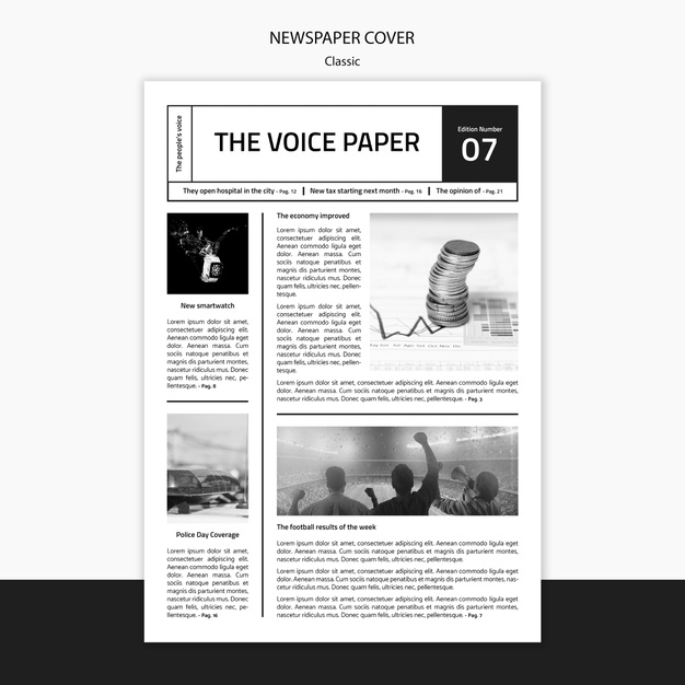 the voice newspaper cover template psd file free download