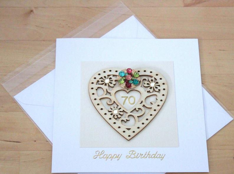 70th birthday card gift for woman mum mom personalised