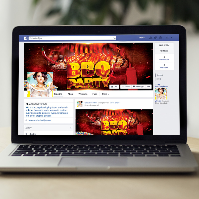 bbq party premium flyer template facebook cover