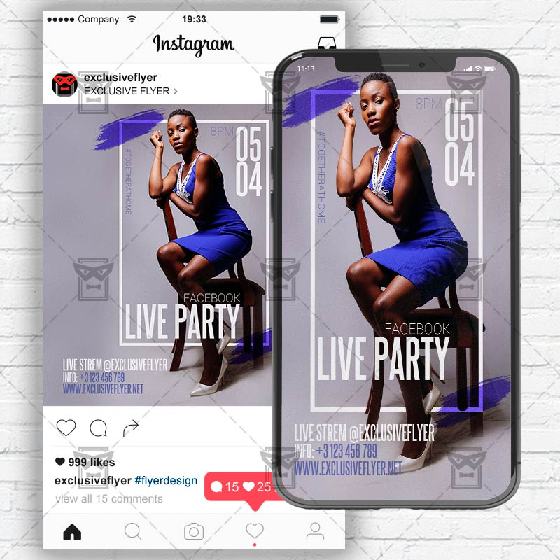 facebook live party template flyer psd optimized for
