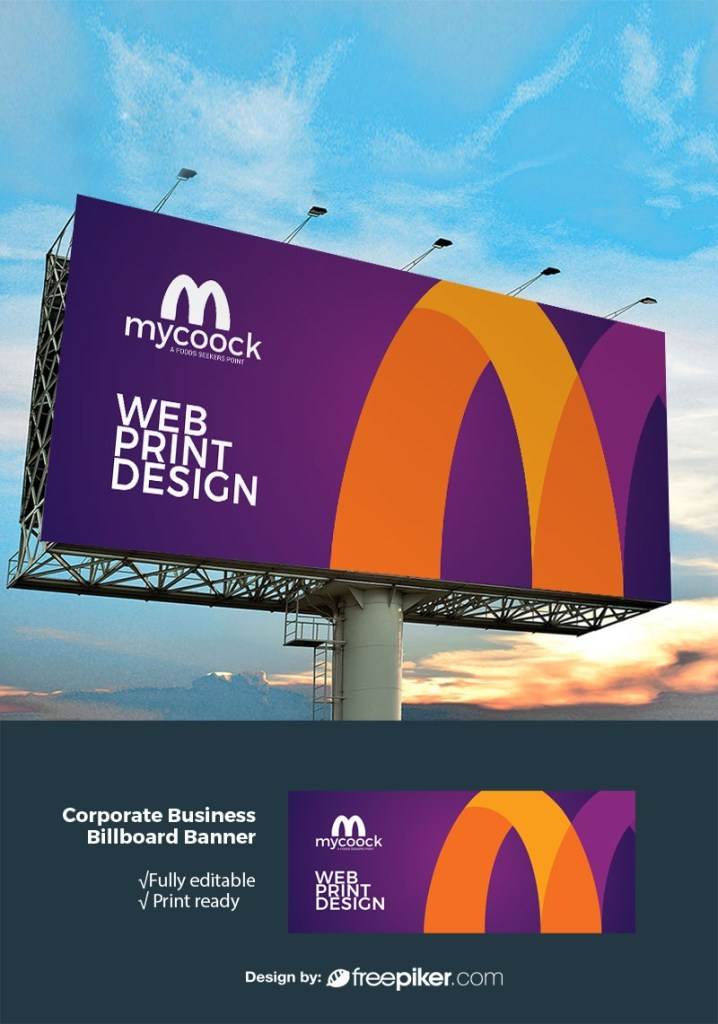 freepiker professional billboard banner with violet accent